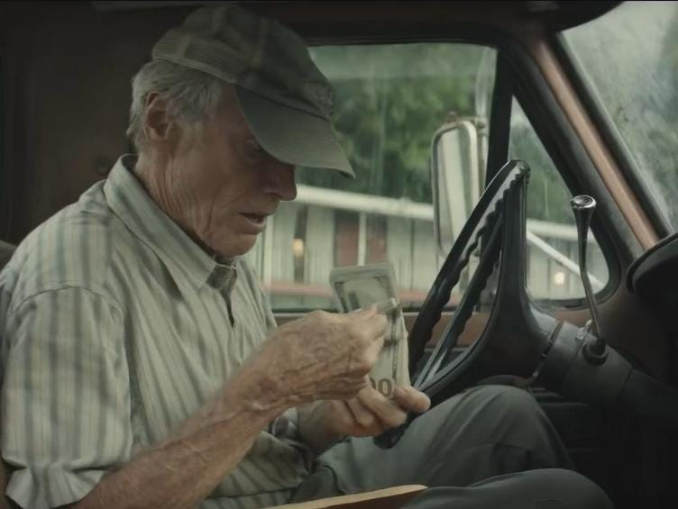 """The Mule"" (R): Scowl-tastic Clint Eastwood does double duty for the first time since 2009's ""Gran Torino"" in this drama of a financially troubled octogenarian who works as a drug mule for the cartel."