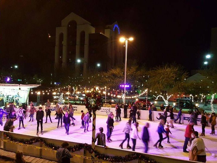 Many gather to skate at the ice rink in Mesa.