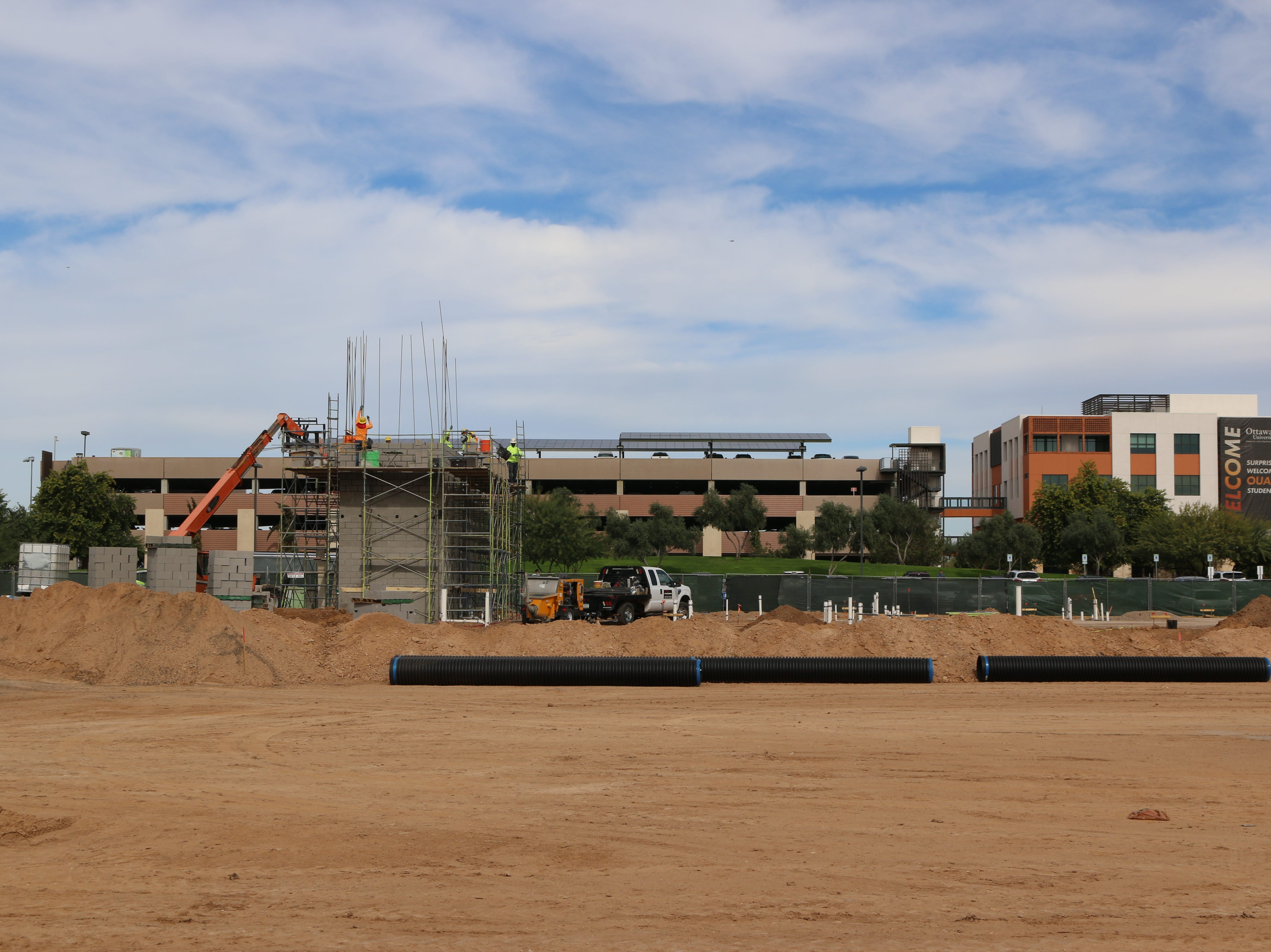 The residence hall at Ottawa University in Surprise is under construction.