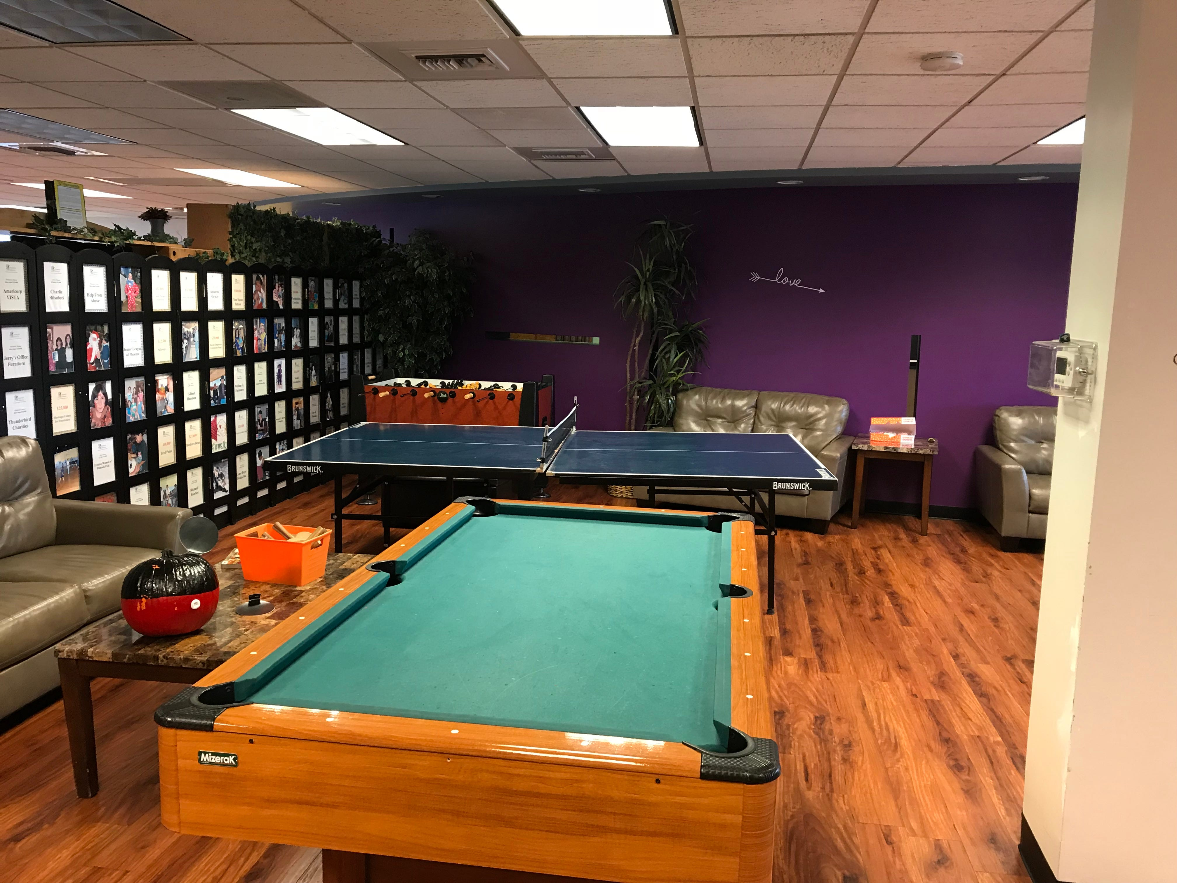 The game room at Arizonans for Children, an agency that provides services for kids in foster care, as well as areas for supervised visits with parents who have lost custody.