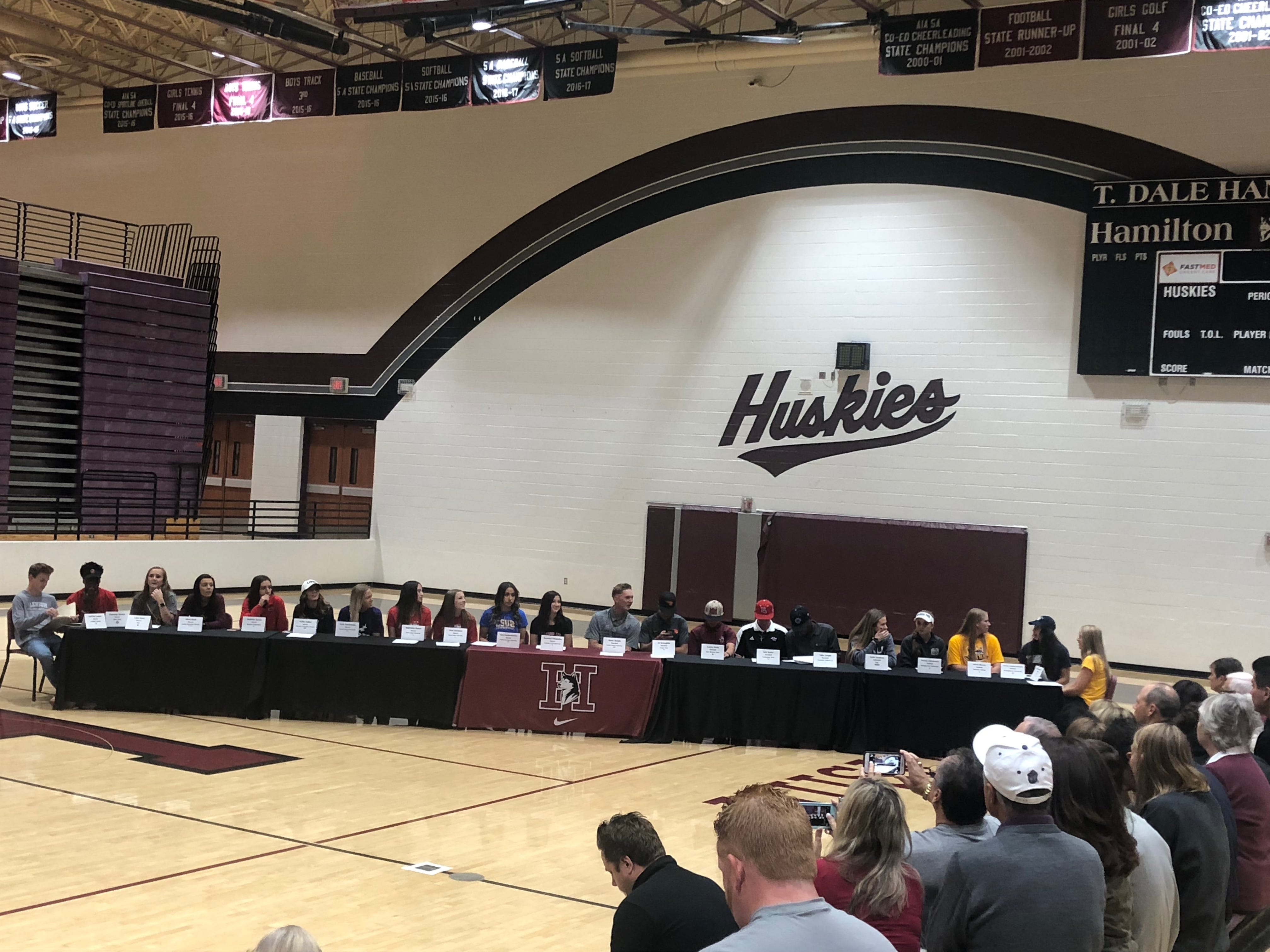 At Chandler Hamilton High School on Nov. 14, 2018, 21 athletes signed their letters of intent to play college sports, including nine girls soccer players.