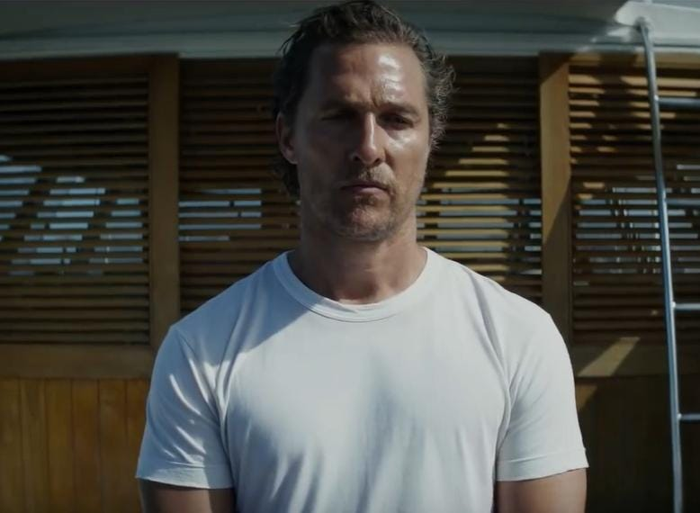 """Serenity"" (R): The shadowy past of a fishing boat captain (Matthew McConaughey) comes to the surface when his ex-wife ensnares him with a desperate request. Jason Clarke co-stars. 