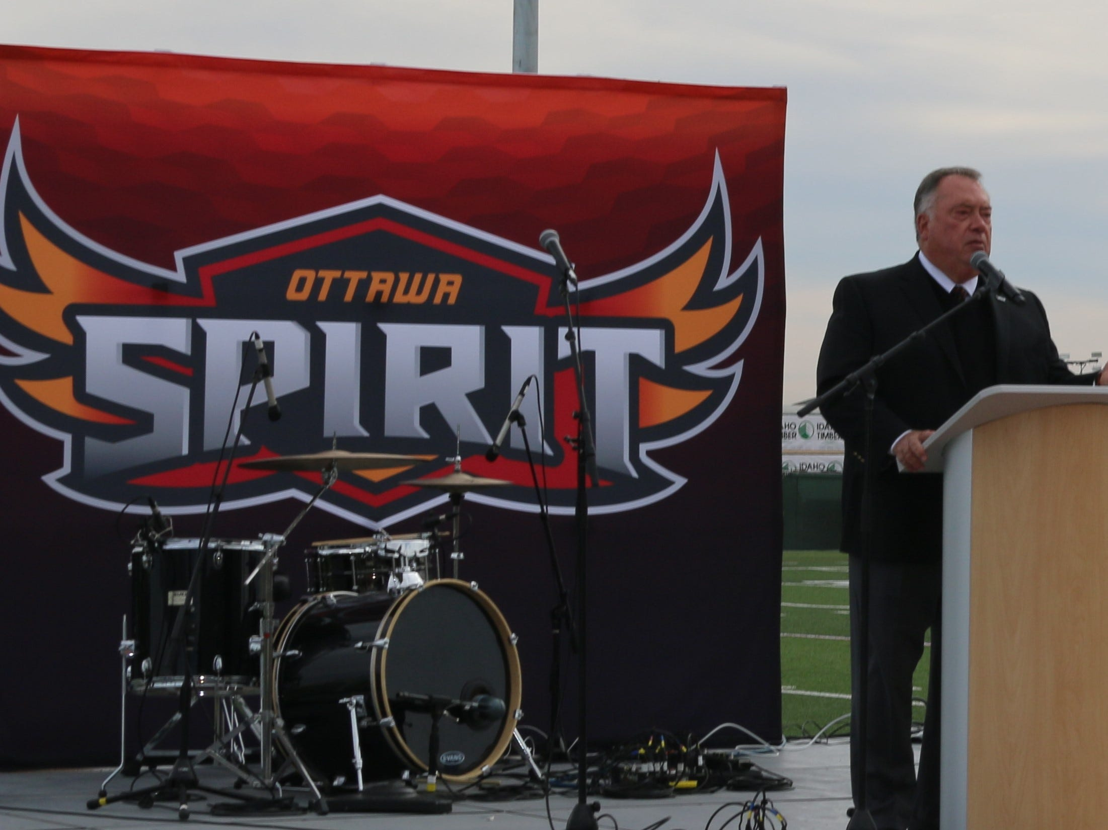 Kevin Eichner, chancellor of Ottawa University, speaks at the groundbreaking for the residence hall at the Surprise campus.