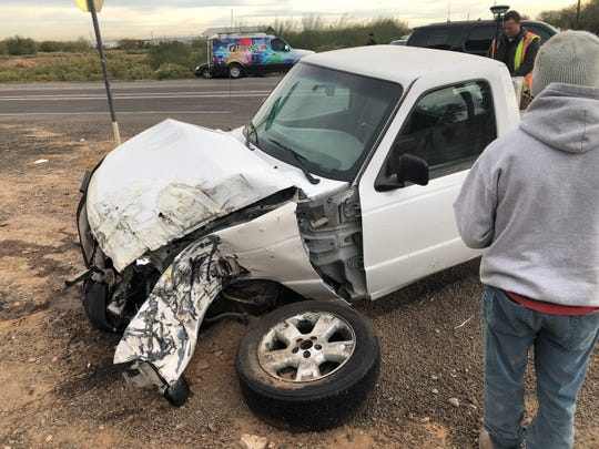 A Littleton School District bus collided with a pickup truck and overturned Wednesday morning near Tolleson.
