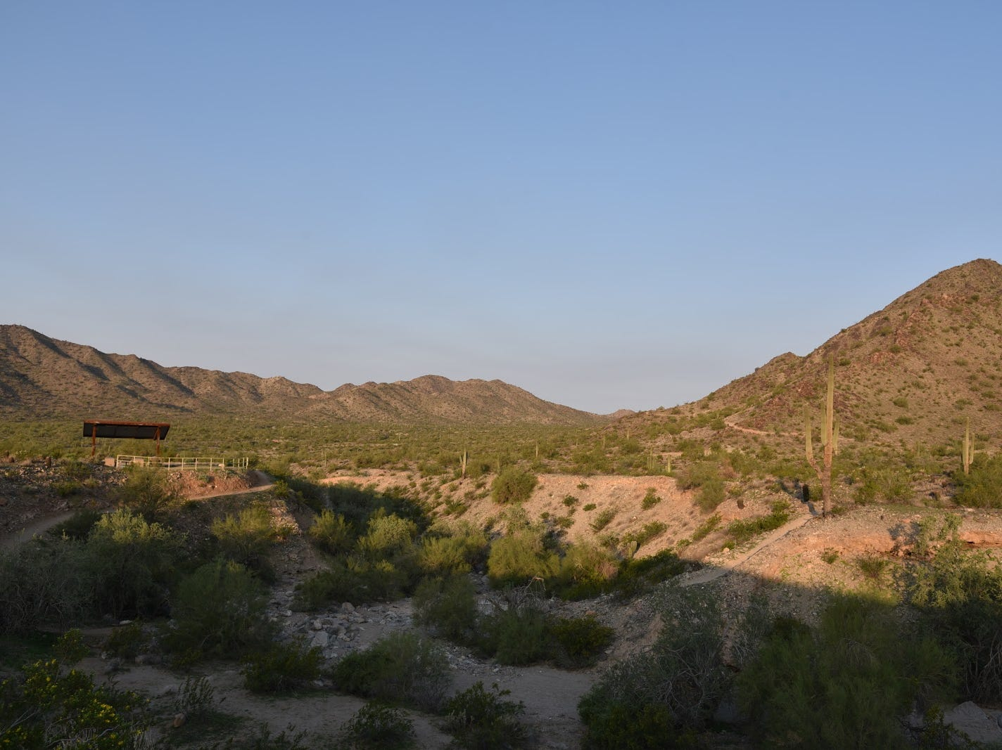 Pyrite Trail ascends the ridgeline in the center of the photo.