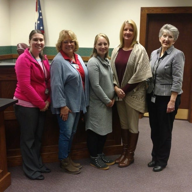 From left are Emily Gerber, Probate Court Administrator; Dianne Mortensen, Ottawa County Senior Resource; Kirstin Harvey, Area Office on Aging of NWO; Jennifer Simpson, Volunteer Guardianship Coordinator; and Judge Kathleen Giesler, Ottawa County Probate Court.