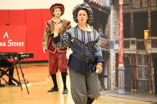 "Katherine Fili, of ""Opera on Wheels,"" plays the role of Tybalt during a performance of ""Romeo and Juliet"" at Port Clinton Middle School on Wednesday."