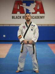 Alex Puzza's at Proven Martial Arts in Wappingers Falls on November 9, 2018. Puzza started as a student when he was 8 years old and now owns the business and teaches students martial arts.
