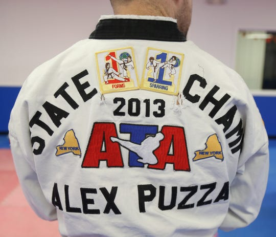 Close up of Alex Puzza's gi at Proven Martial Arts in Wappingers Falls on November 9, 2018.