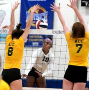 West York's Tesia Thomas, center, is a three-time all-state selection in Class 3-A by the Pennsylvania Volleyball Coaches Association.