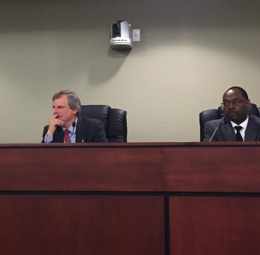 Mayor Michael Helfrich and members of the budget team discuss a draft 2019 city budget at the first of two public hearings on Tuesday, Nov. 13.  (Photo by Rebecca Klar)