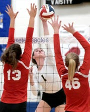 Delone Catholic's Maddie Clabaugh, center, is one of 20 players from the Ballyhoo girls' volleyball club program who plans to play at the NCAA level. Claubaugh, the 2019 York-Adams League Division III Player of the Year, plans to play at Shippensburg University.