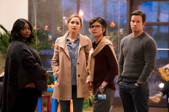 "From left, Octavia Spencer, from left, Rose Byrne, Tig Notaro and Mark Wahlberg star in ""Instant Family."" The movie opens Nov. 16 at Regal West Manchester Stadium 13 and R/C Hanover Movies."