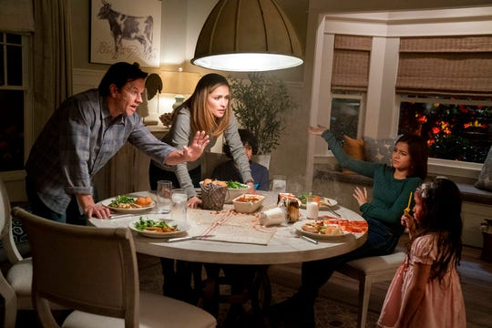"From left, Mark Wahlberg, Rose Byrne, Gustavo Quiroz, Isabela Moner and Julianna Gamiz in a scene from ""Instant Family."" The movie opens Nov. 16 at Regal West Manchester Stadium 13 and R/C Hanover Movies."