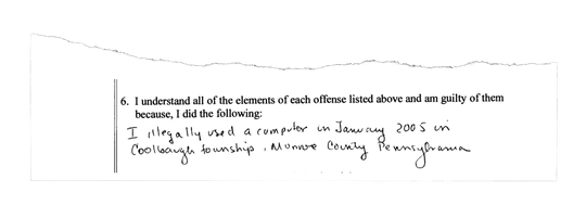 The Rev. Virgil Tetherow, who's also known as Father Gabriel, was asked to sign a written form in 2005 when he pleaded guilty in the Monroe County Court of Common Pleas to one count of criminal use of a communication facility.