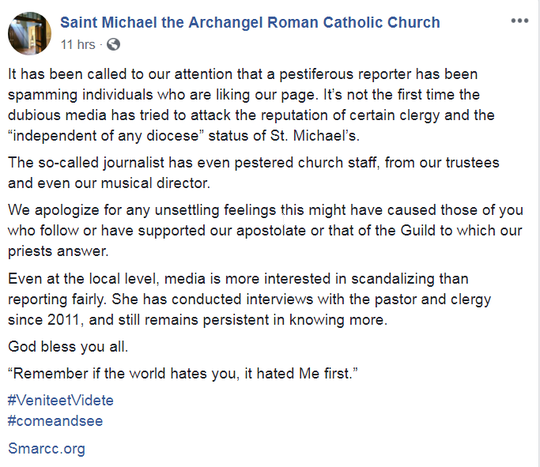 When reporters from the York Daily Record/Sunday News reached out to members of St. Michael the Archangel Roman Catholic Church in Lower Windsor Township, it posted the following message on Facebook.