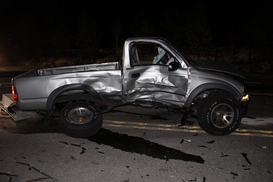 A pickup at the scene of a fatal crash Saturday, Nov. 10, 2018 on Mt. Rose Highway south of Reno.
