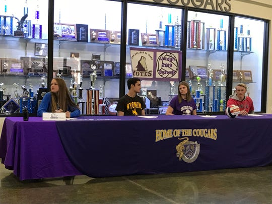 Spanish Springs had four students sign for college athletics in a ceremony at the school on Wednesday. Left to right, Cierra Harn, Payton Lee, Jordyn Boswell and Connor Culp.