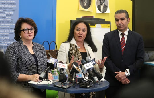 The Rochester distinguished educator's report was released  and discussed with the media by State Education Commissioner MaryEllen Elia (L-R),  Board of Regents Chancellor Betty A. Rosa and Dr. Jaime Aquino.
