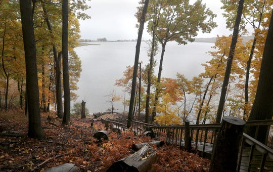 Stairs lead down to the shoreline of Irondequoit Bay.