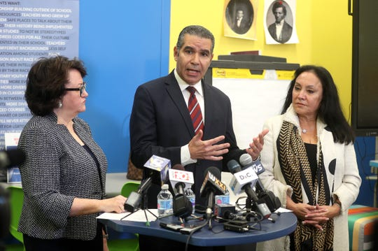 The Rochester distinguished educator's report was released  and discussed with the media by State Education Commissioner MaryEllen Elia (L-R), Dr. Jaime Aquino and Board of Regents Chancellor Betty A. Rosa.