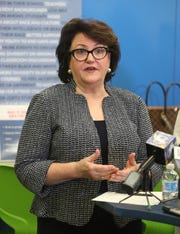 State Education Commissioner MaryEllen Elia discusses the Rochester distinguished educator's report with the media.
