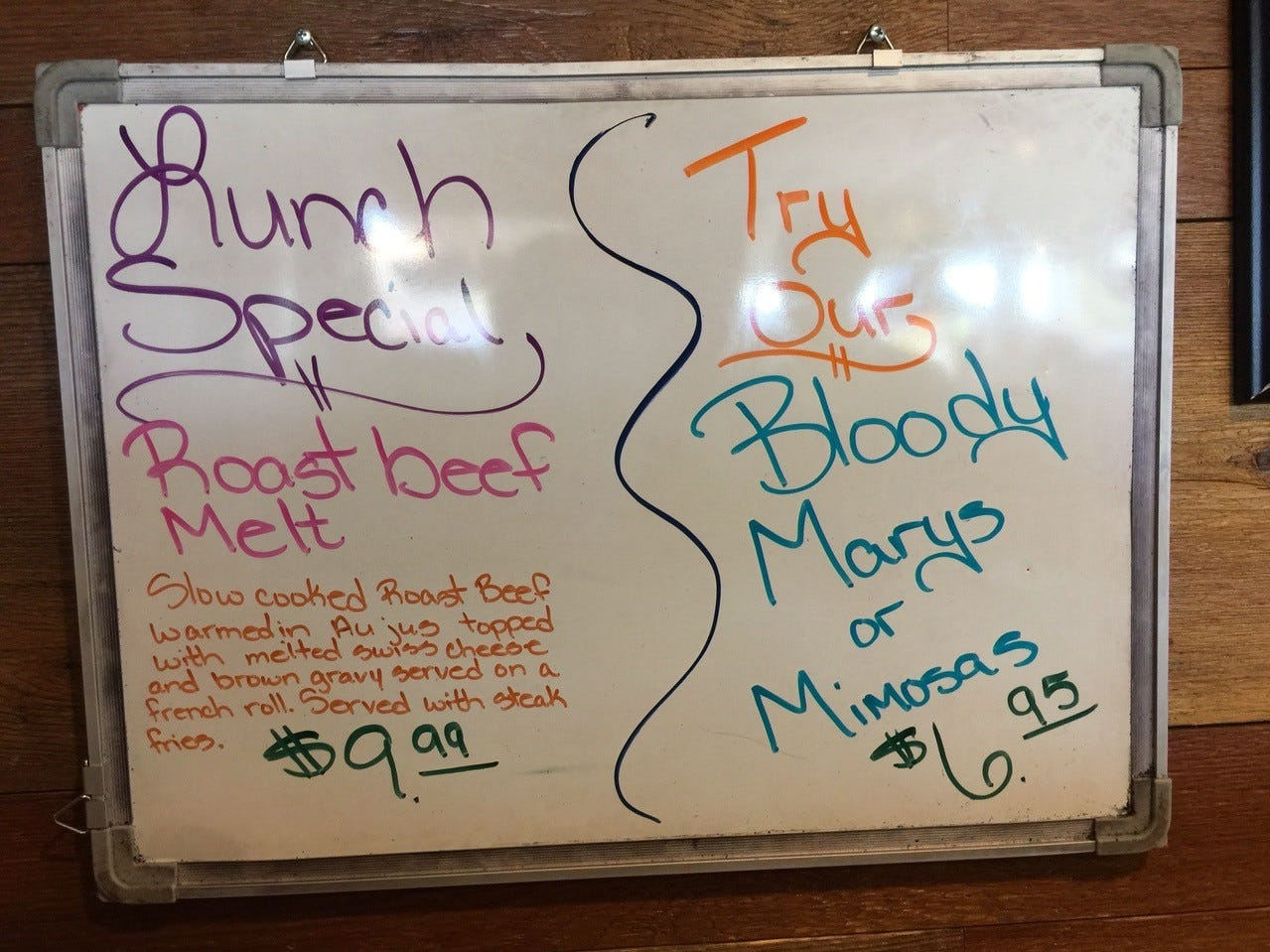 Always check the daily specials near the entrance to Jeff's California Cattle Company.
