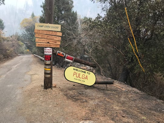 The Town of Pulga, about 25 miles east of Chico, is near where the Camp Fire broke out last week.