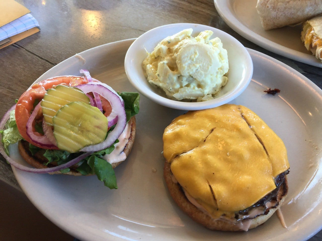 The $7.99 quarter-pound cheese burger on the seniors lunch menu at Jeff's California Cattle Company.