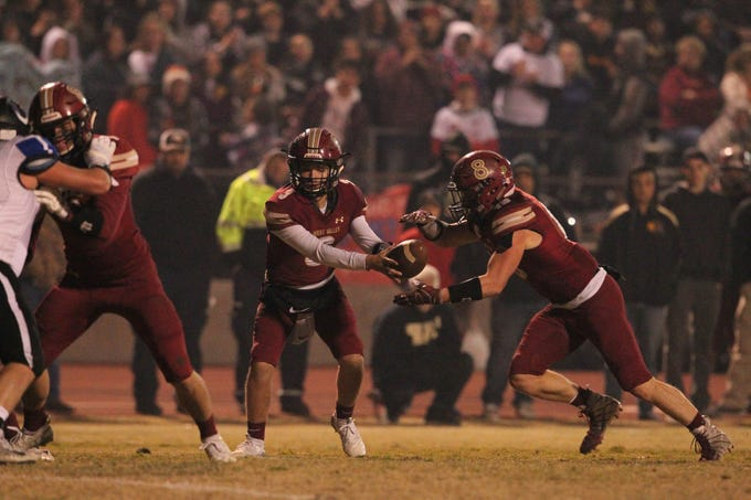 West Valley QB, Kitt Mccloughan (3) hands off the ball to Bailey Sulzer (13) in the 1st quarter of the game against U-Prep on Friday, Nov. 9.    The Eagles defeated the Panthers, 55-6, at home to advance to the 2nd round against Lassen on Nov. 16.