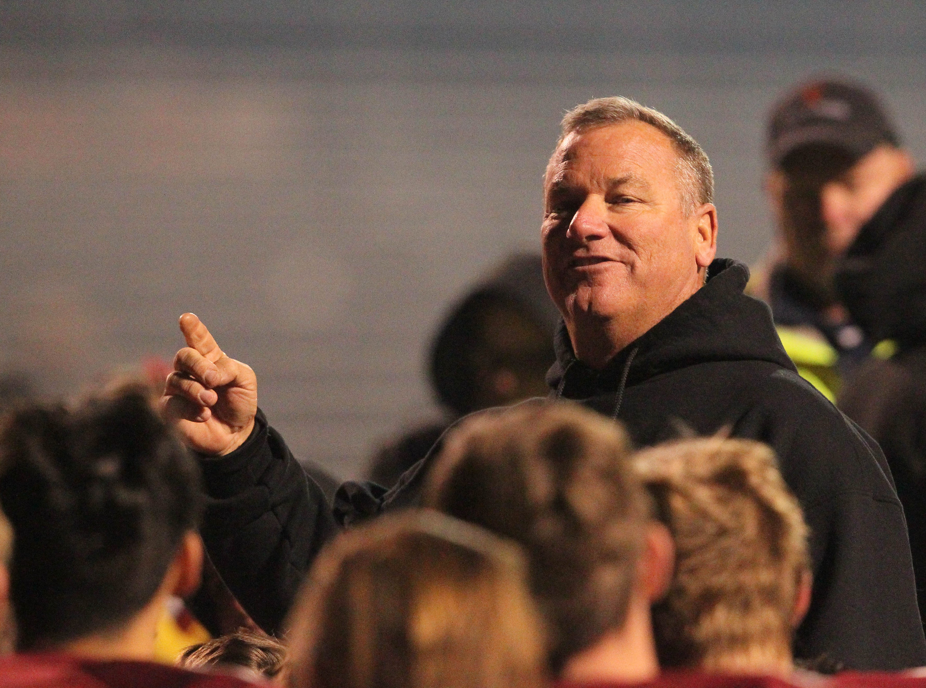 West Valley's head coach, Greg Grandell, talks to players after beating U-Prep, 55 -6, on Friday, Nov. 9.