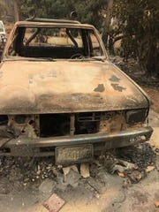 A car belonging to the Nonnemans burned in Paradise during the Camp Fire.