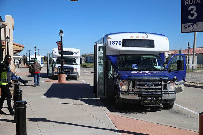 Concho Valley Transit buses wait for people to board Wednesday, Nov. 14, 2018.