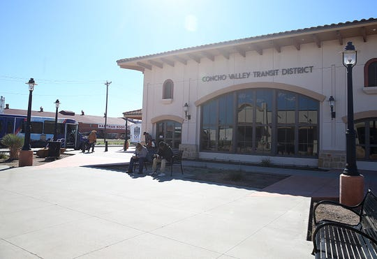 People wait outside the Concho Valley Transit Wednesday, Nov. 14, 2018 to catch their bus.
