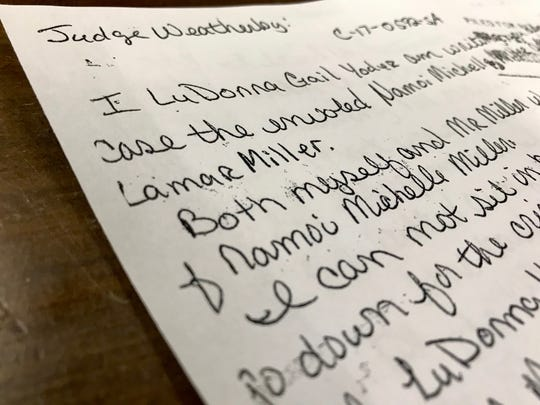 A letter from LuDonna Gail Yoder to Judge Jay Weatherby dated Oct. 10, 2018, in which Yoder confessed to killing Naomi Michelle Miller, the wife of Robert Miller, who was also charged in her death.