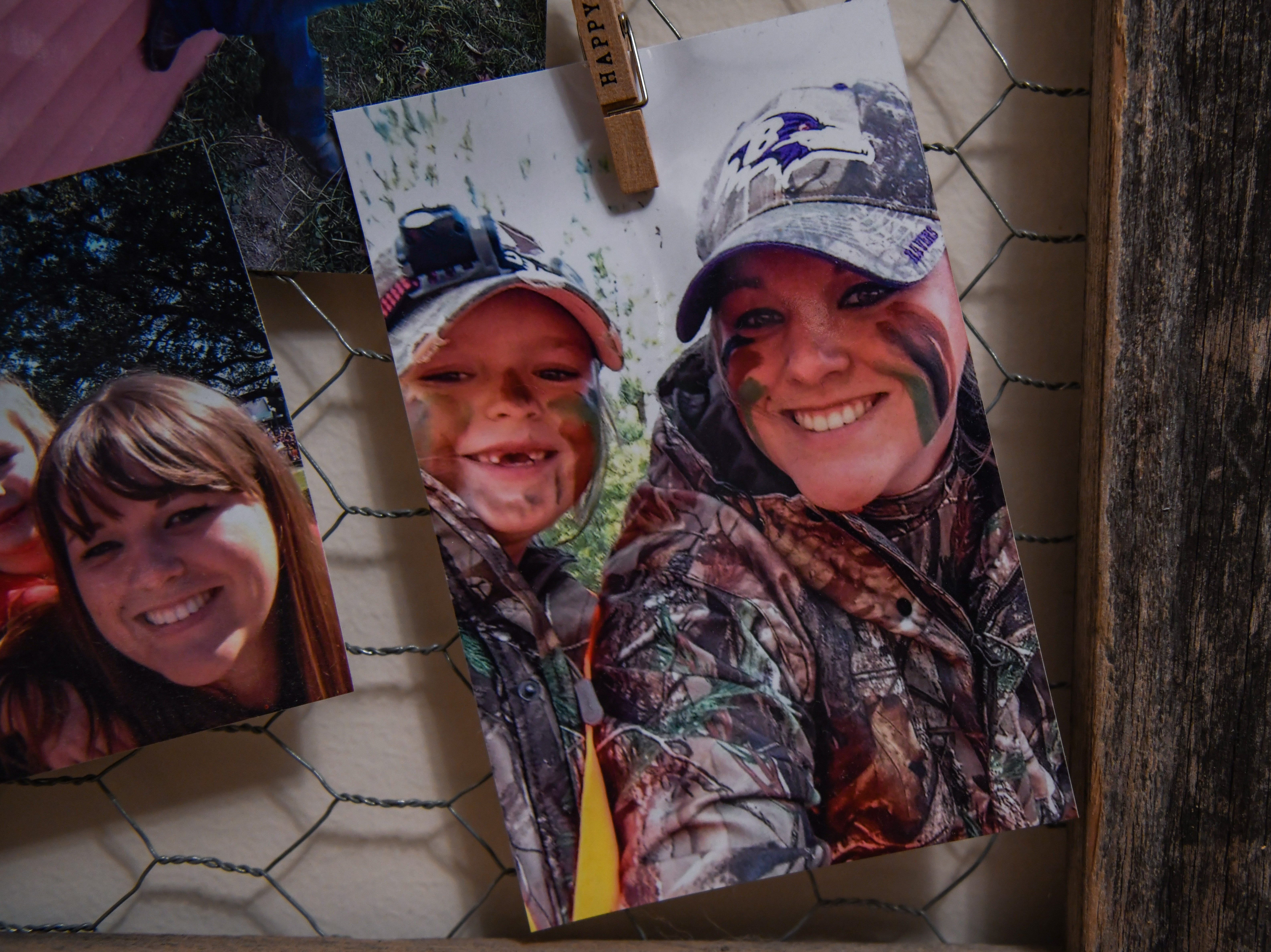 A hunting photo of Betsy Wells and daughter Kelsey Carter hangs in their Hebron home on Thursday, Nov 8, 2018.