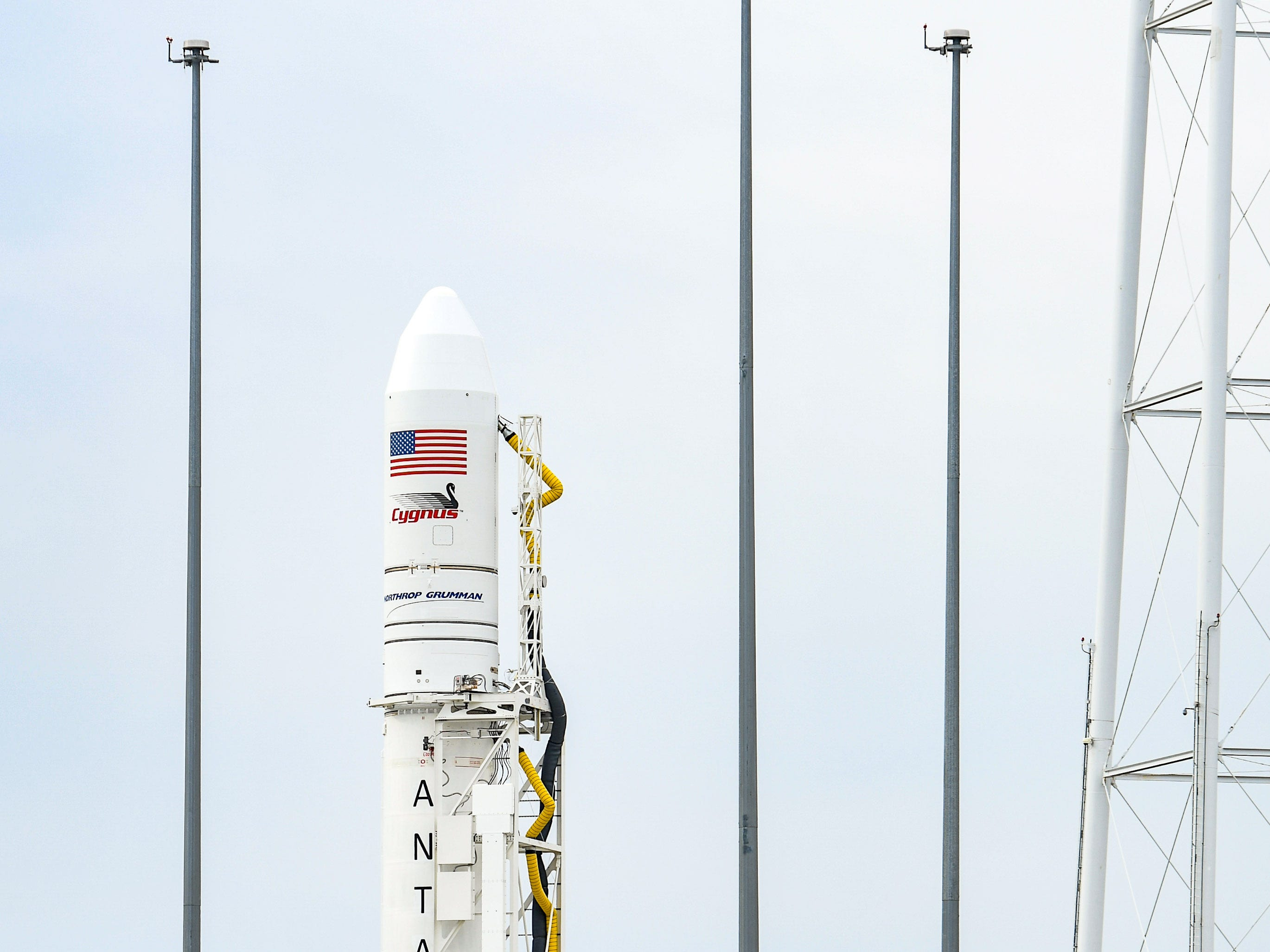 An Antares rocket sits awaiting launch at NASA's Mid-Atlantic Regional Spaceport in Wallops Island, Virginia on Wednesday, Nov 14, 2018.
