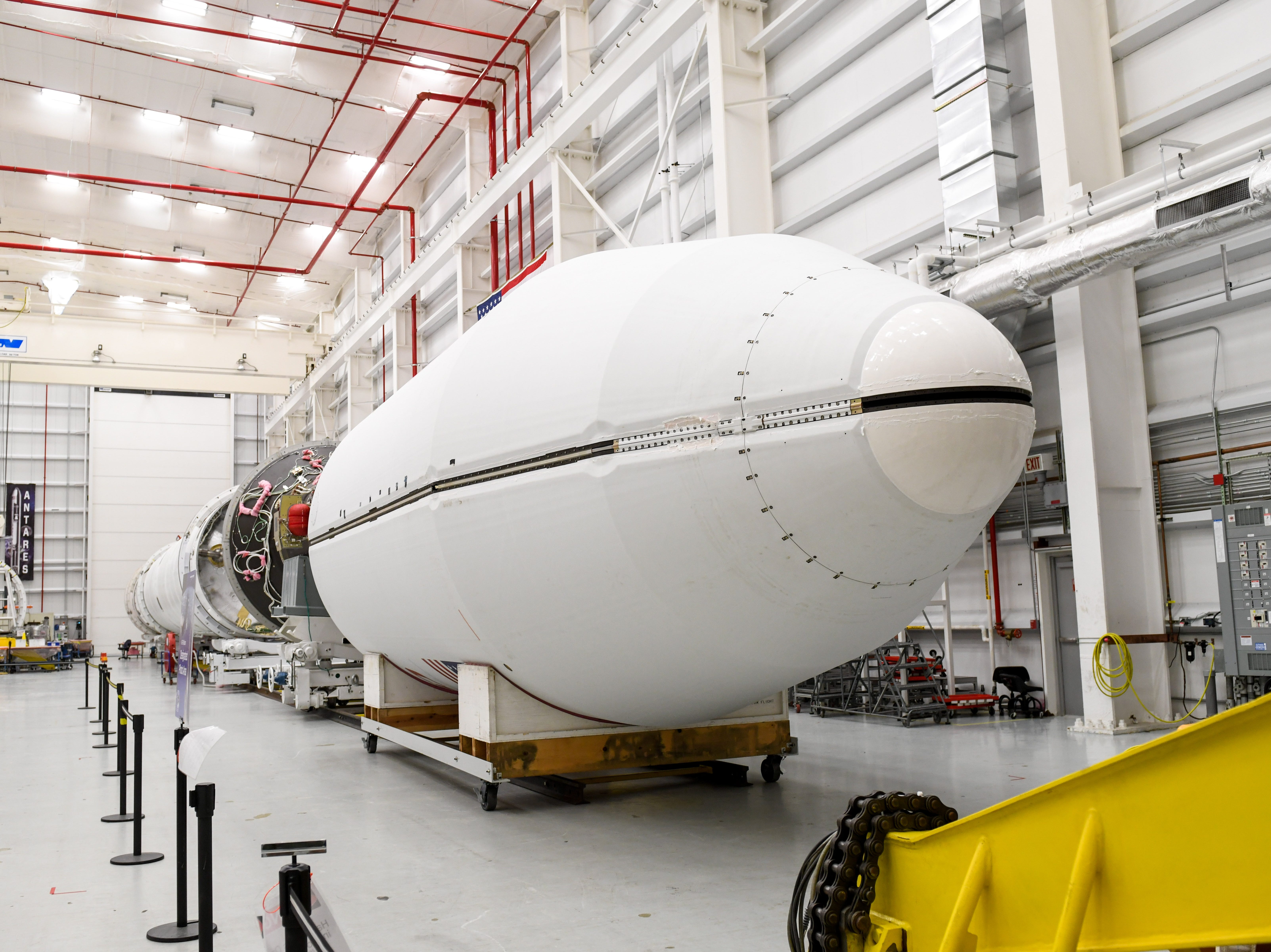 A future Antares rocket is prepped at NASA's Mid-Atlantic Regional Spaceport in Wallops Island, Virginia on Wednesday, Nov 14, 2018.