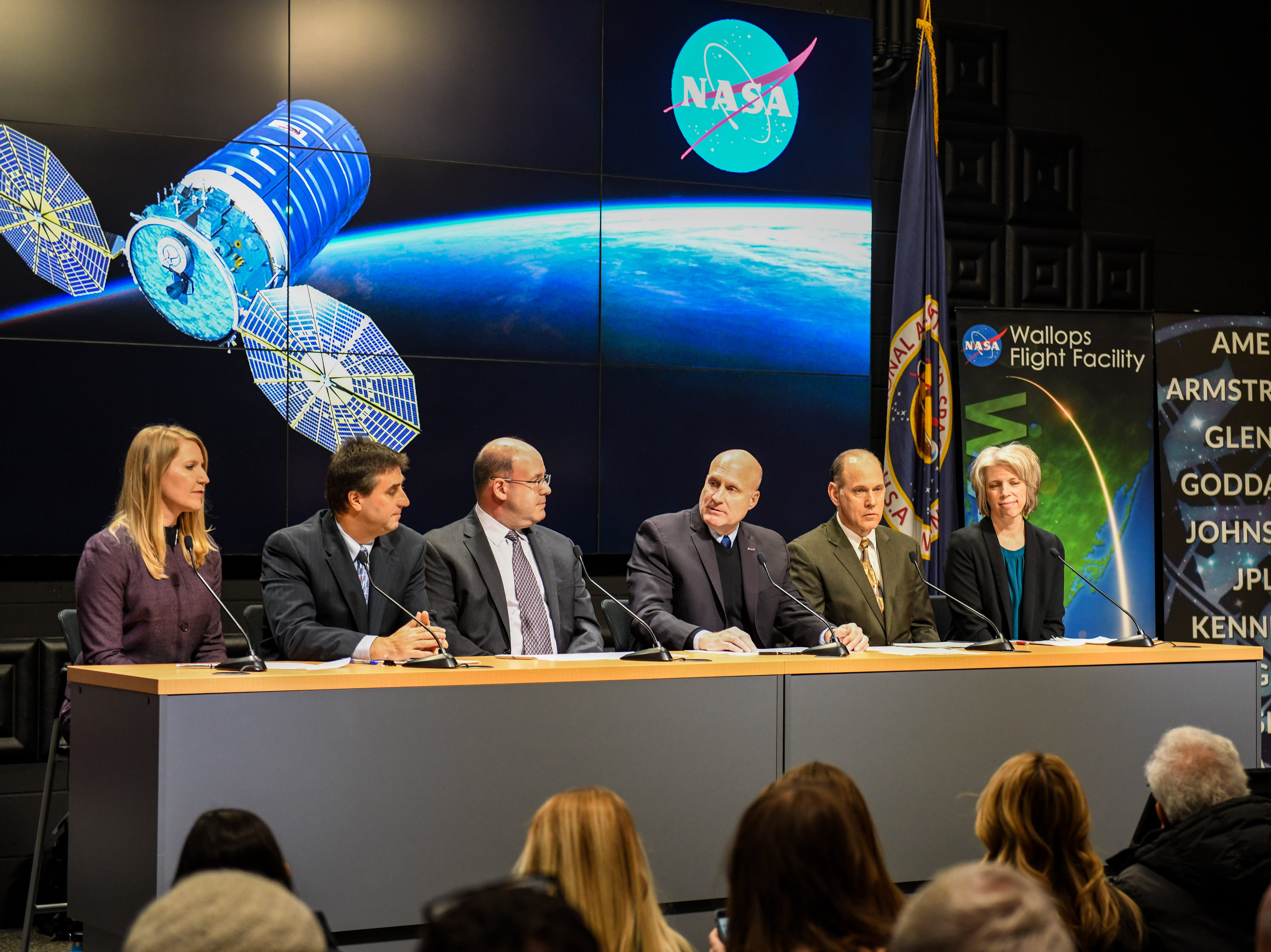 Leaders discuss the upcoming rocket launch in a press conference at NASA's Mid-Atlantic Regional Spaceport in Wallops Island, Virginia on Wednesday, Nov 14, 2018.