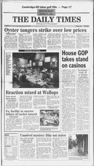 In this Oct. 25, 1995 edition of The Daily Times, two stories mention Wallop's failed rocket launch.
