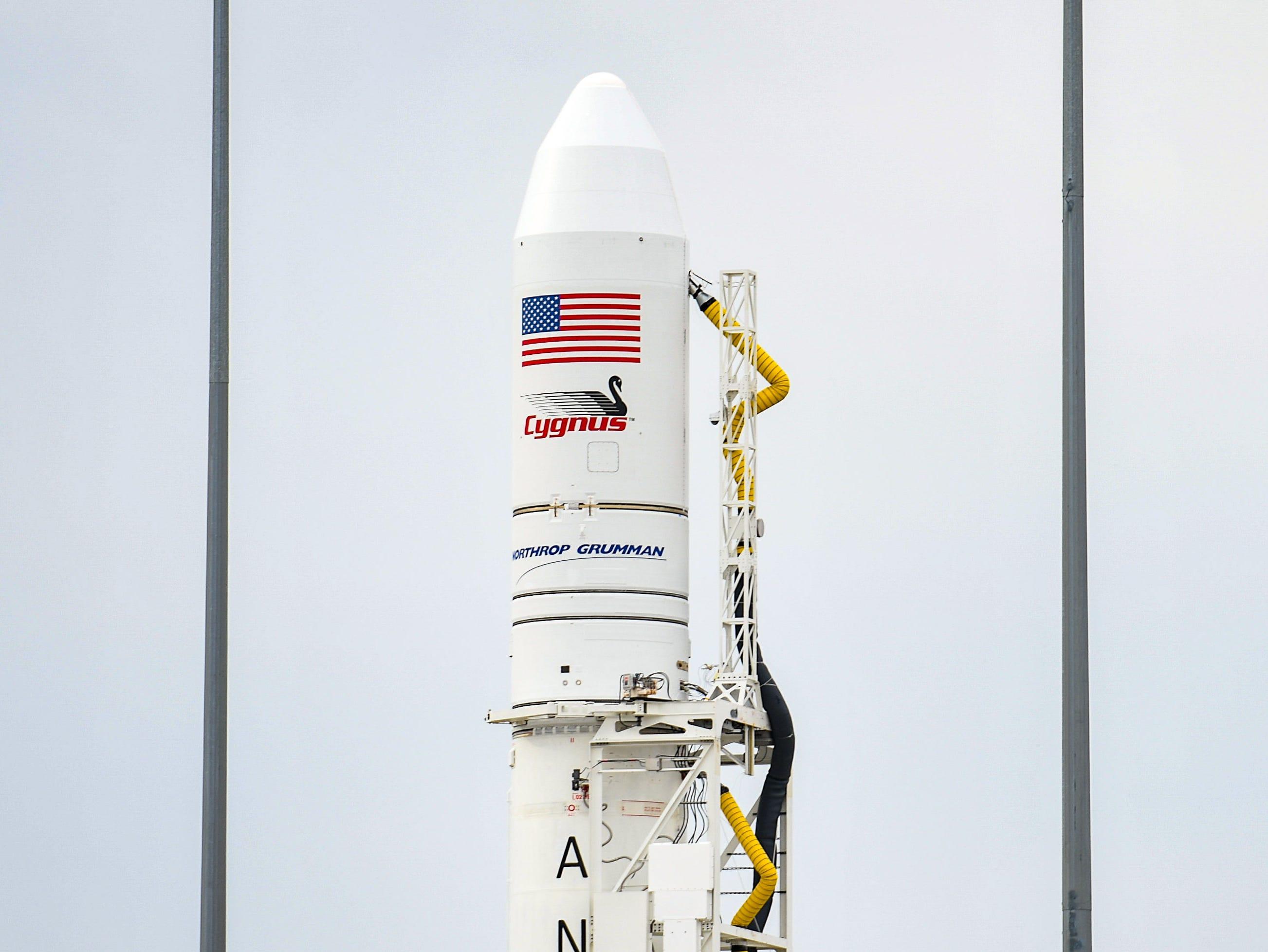 An Antares rocket sits awaiting launch at NASA's Mid-Atlantic Regional Spaceport in Wallops Island, Virginia on Wednesday, Nov 14, 2018.