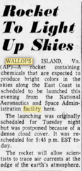 This story published in The Daily Times on Jan. 15, 1975 mentions a scheduled rocket launch from Wallops Flight Facility.