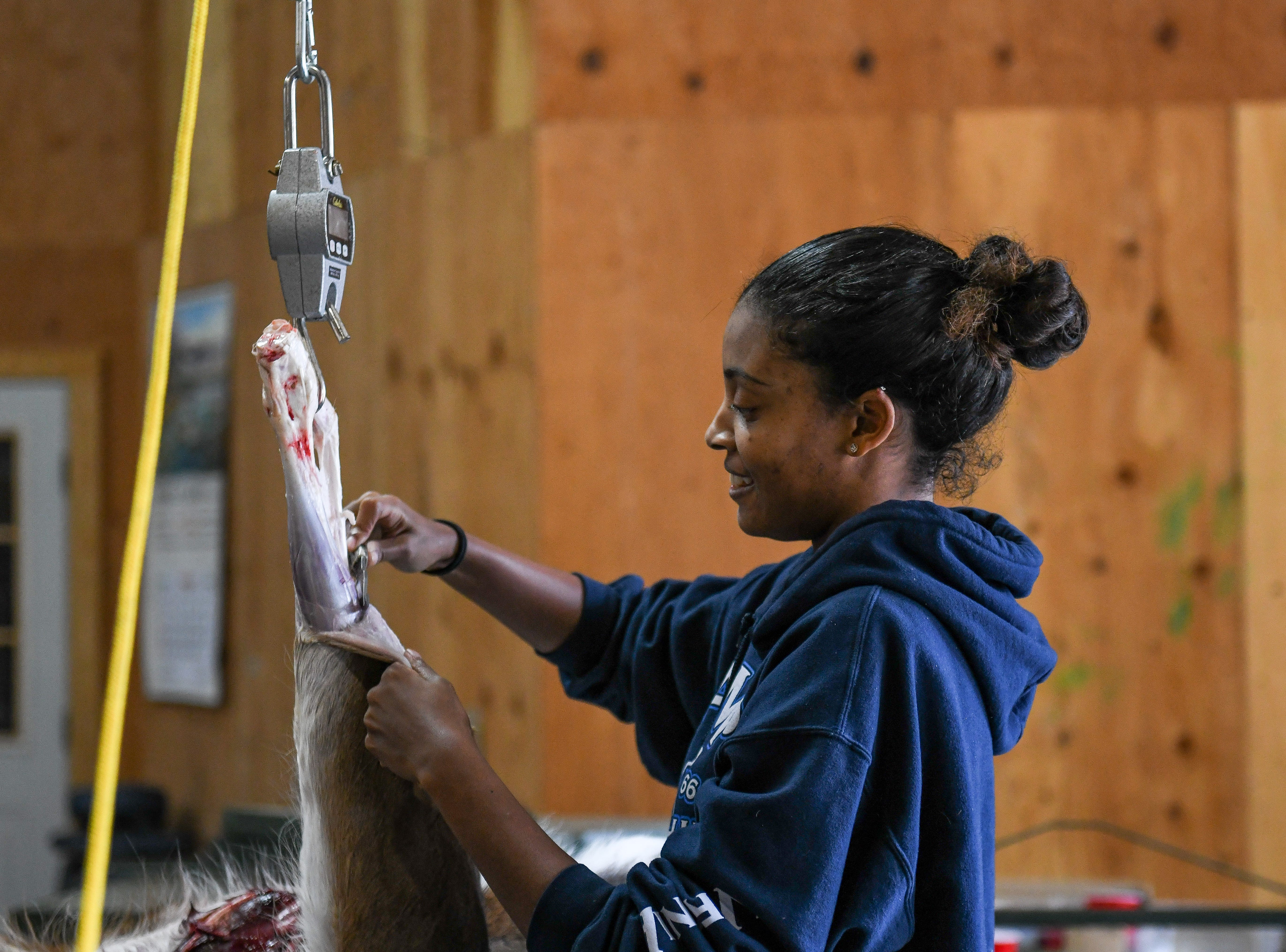 25-year-old Nettiel Stewart butchers her first deer in Mardela Springs on Tuesday, Nov 6, 2018.