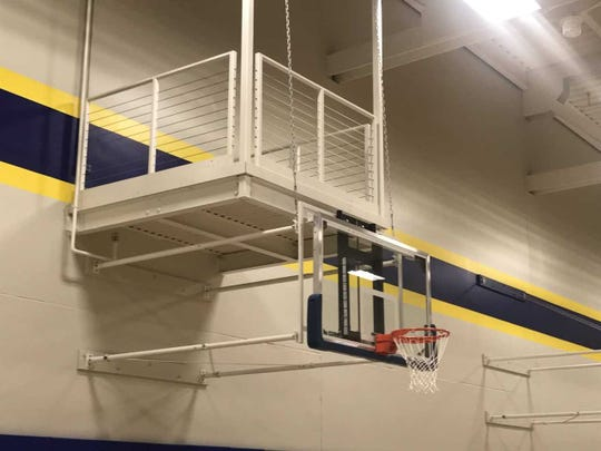 The new practice gym has an upper level and landings for video