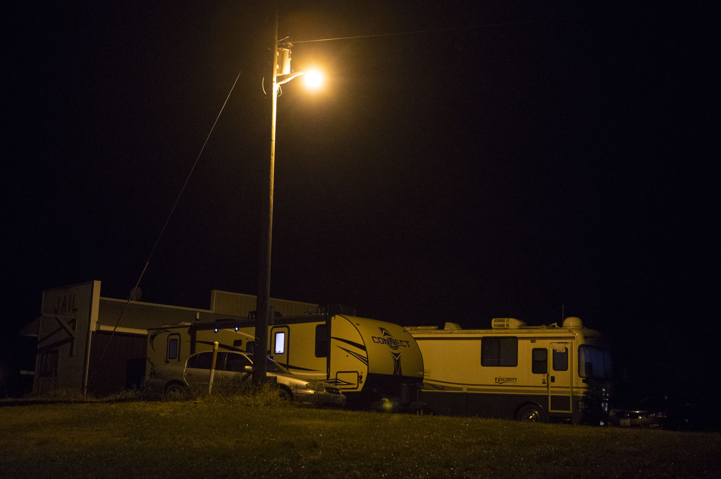 The mobile homes outside of Frank Day's Bar and Restaurant in Dallas. During pheasant season, the mobile homes are used to house strippers.
