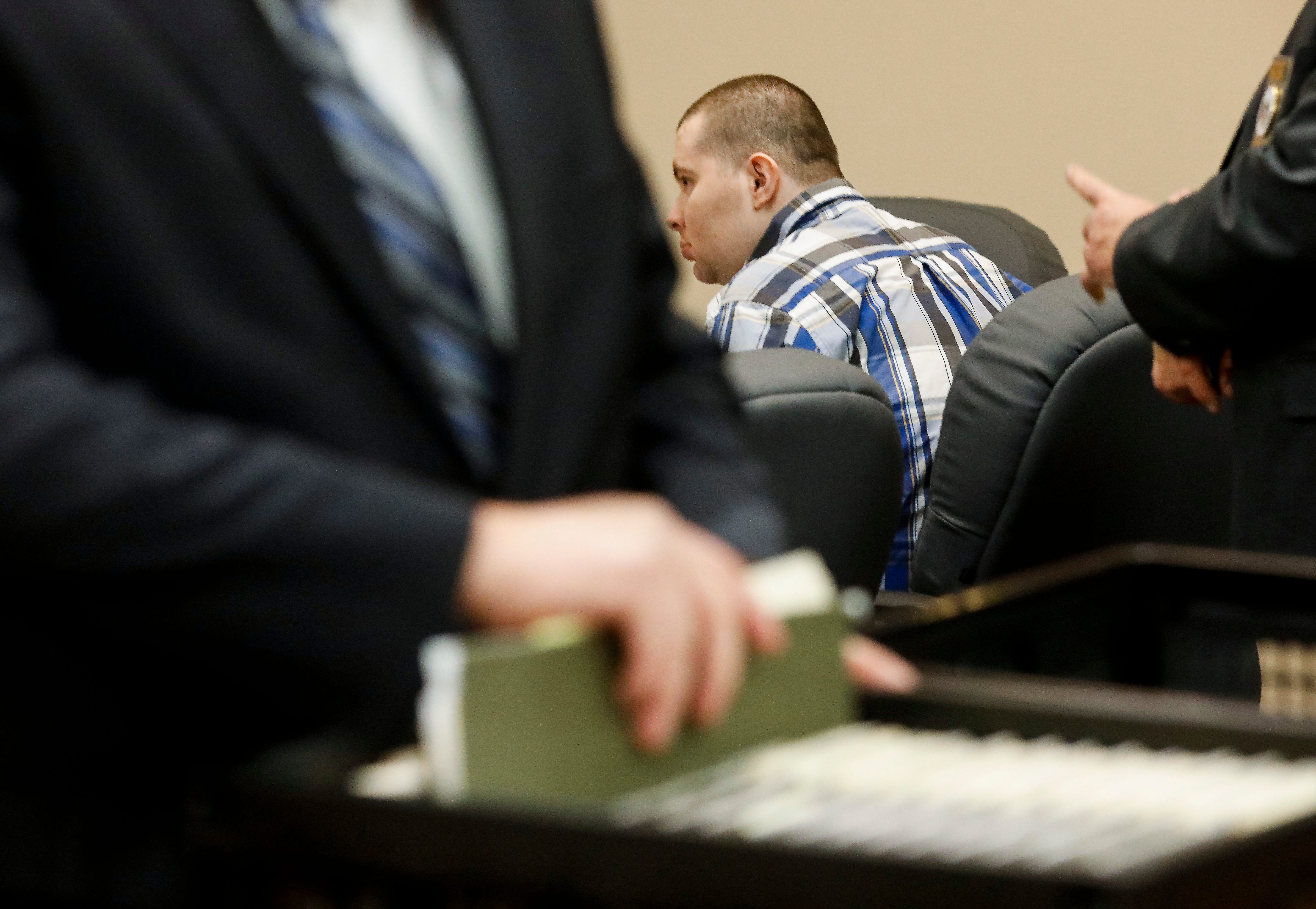"""Nicholas Godejohn, 29, who is charged with first-degree murder in the June 2015 killing of 48-year-old Clauddine """"Dee Dee"""" Blanchard, sits in the courtroom on the second day of his trial on Wednesday, Nov. 14, 2018."""