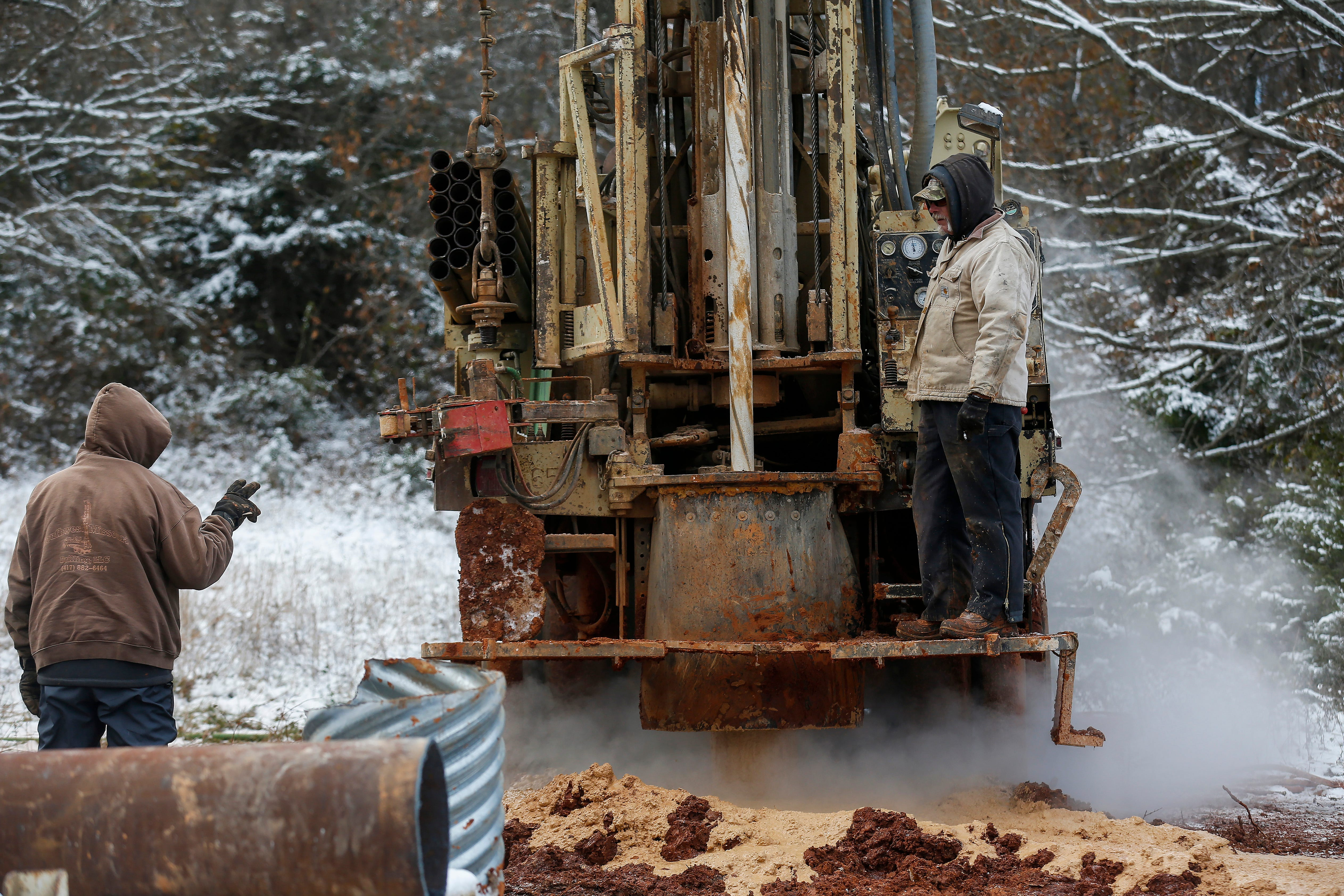 In November, workers from Southwest Missouri Well Drilling Inc. drilled several holes to vent  trichloroethylene (TCE) vapors near Fantastic Caverns.