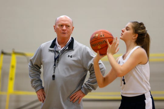 Springfield Catholic High School assistant girls basketball coach Frank Gallant during practice on Monday, Nov. 12, 2018.