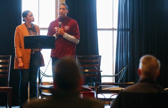 Missouri State head basketball coach Dana Ford and his wife Christina talk about their plans to open a transitional home for victims of domestic violence on Monday, Nov. 12, 2018.