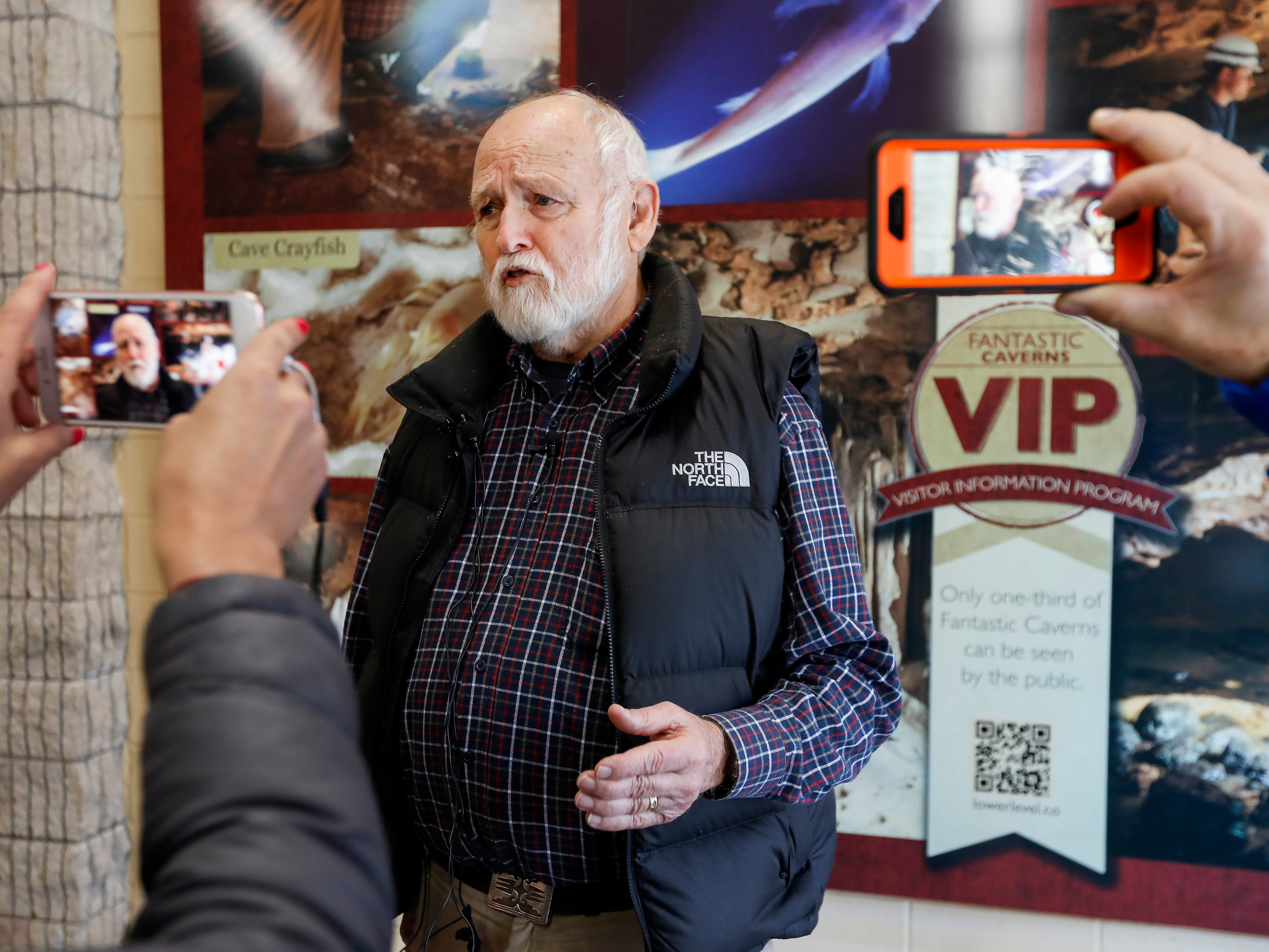 Tom Aley, founder of Ozark Underground Laboratory, talks to the media about his work monitoring  and removing the trichloroethylene (TCE) vapors at Fantastic Caverns.
